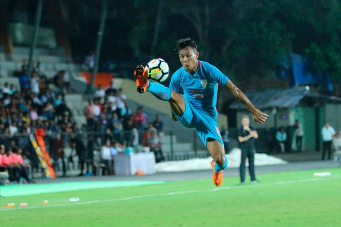 Indian national team player Udanta Singh in action at the Hero Intercontinental Cup 2018 in Mumbai. (Photo courtesy: AIFF Media)