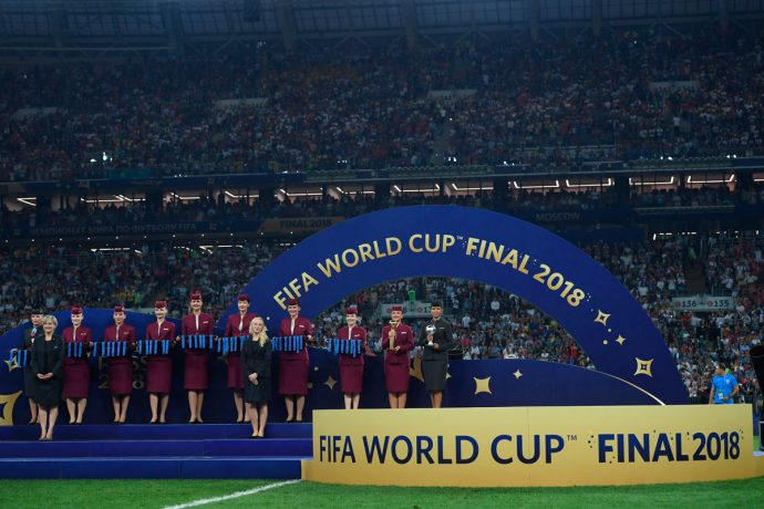 Qatar Airways cabin crew members at the 2018 FIFA World Cup Russia winners ceremony at Luzhniki Stadium on July 15, 2018 in Moscow, Russia. (Photo by Alex Caparros - FIFA/FIFA via Getty Images)