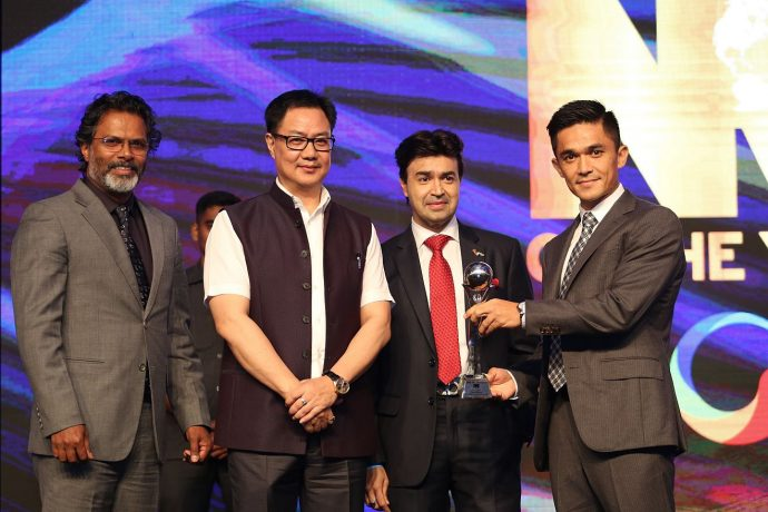 Sunil Chhetri awarded at 5th Times NOW & ICICI Bank NRI of the Year Awards 2018