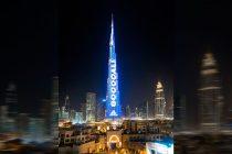 World's highest Football Live Scoreboard on Burj Khalifa captivates visitors. (Photo courtesy: Emaar)