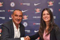 New head coach Maurizio Sarri and Chelsea FC director Marina Granovskaia. (Photo courtesy: Chelsea FC)