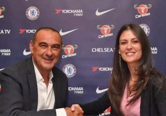 New head coach Maurizio Sarri and Chelsea FC director Marina Granovskaia. (Photo courtesy: Chelsea FC)