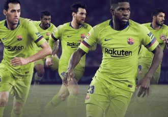 The 2018-19 FC Barcelona kits harken back to that electric style of play from the 2005-06 season in the form of a bold yellow away kit. (Photo courtesy: Nike)