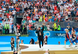Nicky Jam during the live performance of the 2018 FIFA World Cup Official Song 'Live it Up' featuring Will Smith and Era Istrefi at the Luzhniki Stadium in Moscow. (Photo courtesy: Vivo)