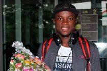 New Mohammedan Sporting striker Princewell Emeka Olariche arrives in Kolkata. (Photo courtesy: Mohammedan Sporting Club)