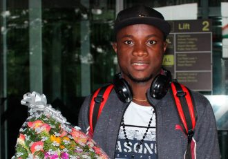 New Mohammedan Sporting striker Princewell Emeka Olariche arrives in Kolkata. (Photo courtesy: Mohammedan Sporting Club)
