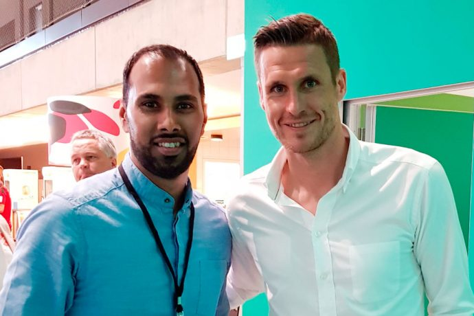 Chris Punnakkattu Daniel and Sebastian Kehl, Head of the Licensed Player Department, Borussia Dortmund. (© CPD Football)
