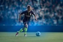 Kevin de Bruyne wearing the dark blue shirt with field blue and yellow pin stripes down the front and back which recall Manchester City's away shirt for a playoff final in 1999. (Photo courtesy: Nike)