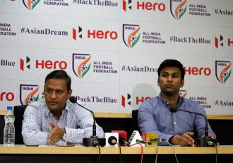 Kushal Das, General Secretary, AIFF and Abhishek Yadav, Director of National Teams, AIFF during a press conference. (Photo courtesy: AIFF Media)