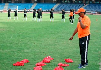 Head Coach Shukla Dutta during a India U-17 Women's National Team training session. (Photo courtesy: AIFF Media)