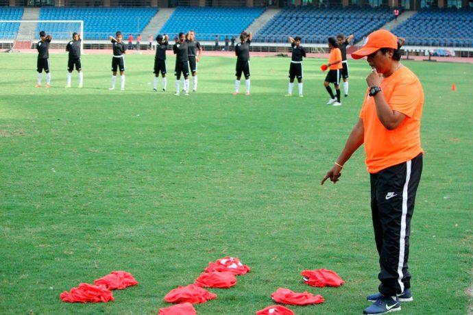 Head Coach Shukla Dutta during a India U-17 Women's National Team training session. (Photo courtesy: AIFF Media)
