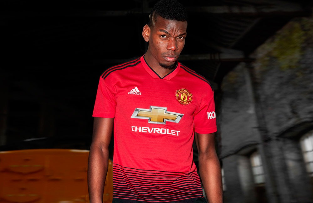 Paul Pogba presents the new Manchester United home kit by adidas for 2018 19  season 6dbce4b80