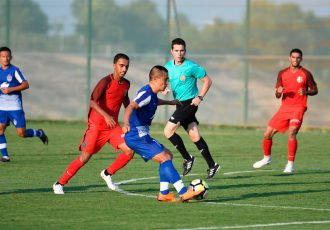 Bengaluru FC skipper Sunil Chhetri in action against Shabab Al Ahli Dubai FC at the Meliá Villaitana Football Center in Benidorm, Alicante. (Photo courtesy: Bengaluru FC)