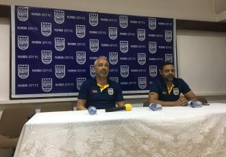 Mumbai City FC head coach Jorge Costa and club CEO Indranil Das Blah during a press-conference. (Photo courtesy: Mumbai City FC)