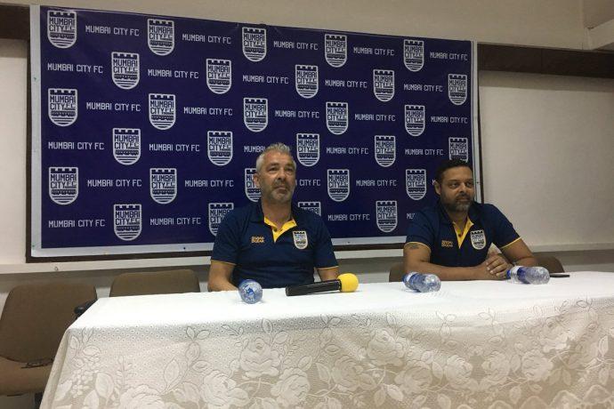 Mumbai City FC head coach Jorge Costa and club CEO Indranil Das Blah during a press-conference. (Photo courtesy: Mumbai City FC)