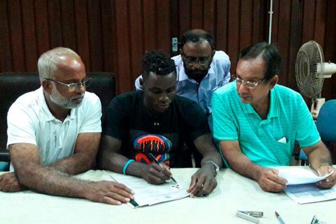 Mohammedan Sporting's Ghanaian signing Phillip Adjah Tetteh at the Indian Football Association (IFA) Office in Kolkata. (Photo courtesy: Mohammedan Sporting Club)