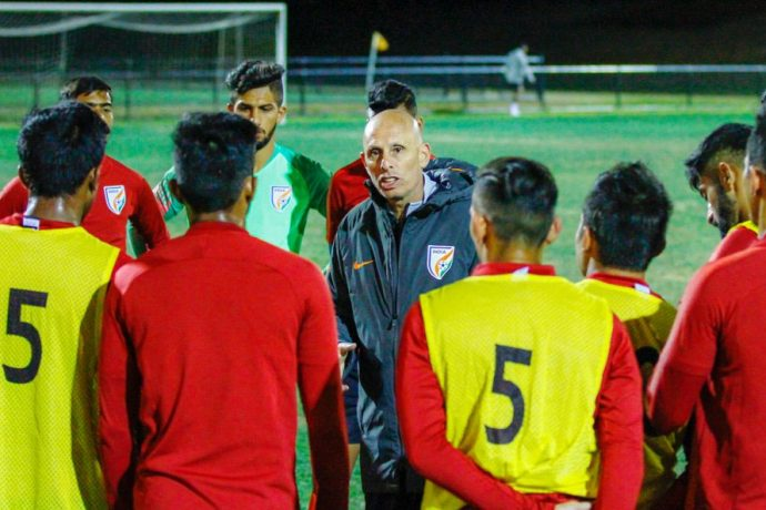 Head coach Stephen Constantine during a training session of the Indian national team. (Photo courtesy: AIFF Media)
