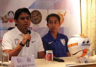 India U-15 Women's head coach Firmin D'Souza and player Avika Singh (Photo courtesy: AIFF Media)