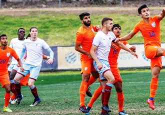 Match action during the APIA Leichhardt Tigers FC U-20 vs Indian national team friendly match. (Photo courtesy: AIFF Media)