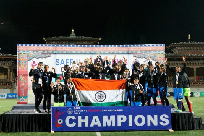 India U-15 Girls win the 2018 SAFF U-15 Women's Championship (Photo courtesy: AIFF Media)
