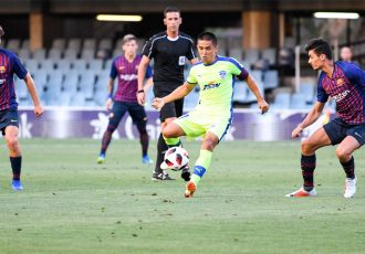 Bengaluru FC skipper Sunil Chhetri in action against FC Barcelona B at the Mini Estadi in Barcelona. (Photo courtesy: Bengaluru FC)