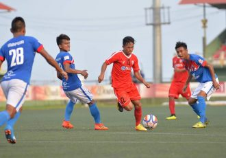 Mizoram Premier League action between champions Aizawl FC and Chanmari FC. (Photo courtesy: Mizoram Football Association)