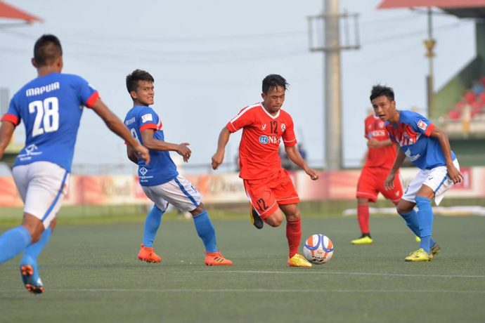 Mizoram Premier League action between champions Aizawl FC and Chanmari FC. (Photo courtesy: Mizoram Football Association)
