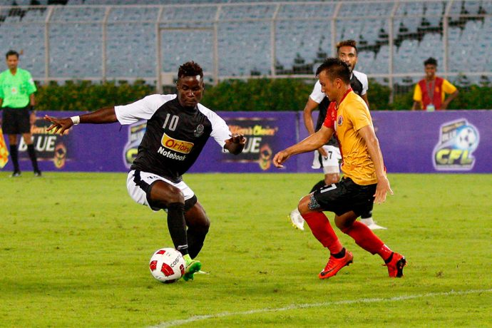 Mohammedan Sporting Club's Philip Adjah Tetteh in action against East Bengal FC in the Calcutta Football League. (Photo courtesy: Mohammedan Sporting Club)