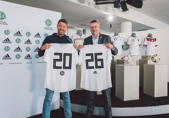 adidas CEO Kasper Rorsted and DFB President Reinhard Grindel. (Photo courtesy: DFB)