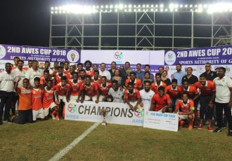 Sporting Clube de Goa players and officials celebrating their AWES Cup 2018 victory. (Photo courtesy: AWES)