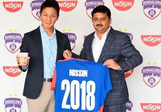 Ryusuke Miyake, Director of Marketing, Indo Nissin Foods Private Limited, and Bengaluru FC CTO Mandar Tamhane at the launch of the partnership. (Photo courtesy: Bengaluru FC)