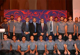 Delhi Dynamos FC squad with H.E. Mr P Kumaran, Indian Ambassador in Doha, Qatar. (Photo courtesy: Delhi Dynamos FC)