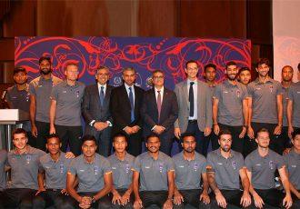 Delhi Dynamos FC squad with H.E. Mr P Kumaran, Indian Ambassador in Doha, Qatar. (Photo courtesy: Delhi Dynamos FC)