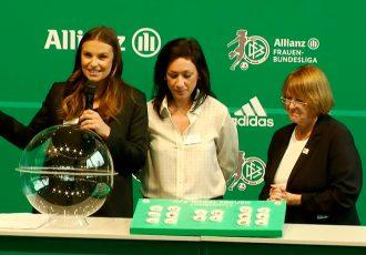 Laura Wontorra, Nadine Keßler (Head of Women's Football, UEFA) and Hannelore Ratzeburg (Vice-President, DFB) during the Women's DFB-Pokal draw at the Deutsches Fußballmuseum in Dortmund. (Photo courtesy: DFB TV)