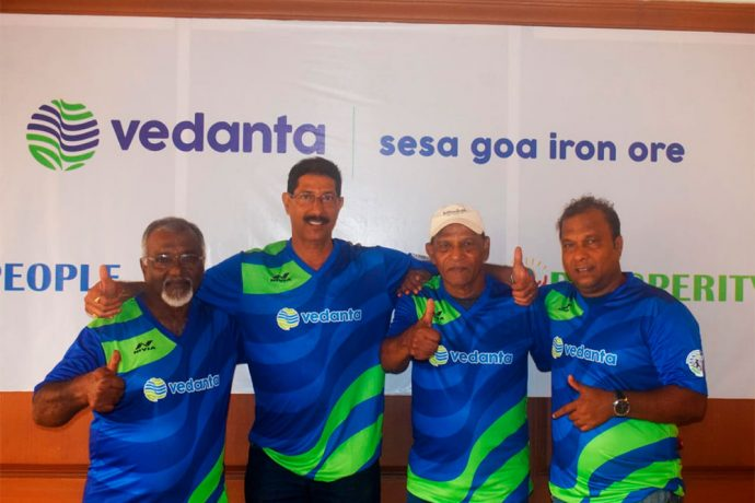 Tiburcio D'Souza, Bramhanand Sankhawalkar, Salvador Fernandes and Brunho Cutinho unveil the jersey for the Legends Match on September 15, 2018. (Photo courtesy: Vedanta Limited)