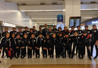 The India U-16 national team moments after their arrival at the Indira Gandhi International Airport in New Delhi. (Photo courtesy: AIFF Media)
