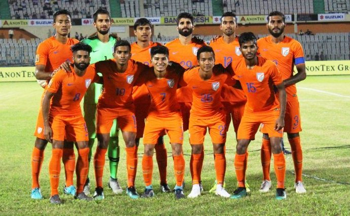 India U-23 national team at the SAFF Suzuki Cup 2018 in Dhaka, Bangladesh. (Photo courtesy: AIFF Media)