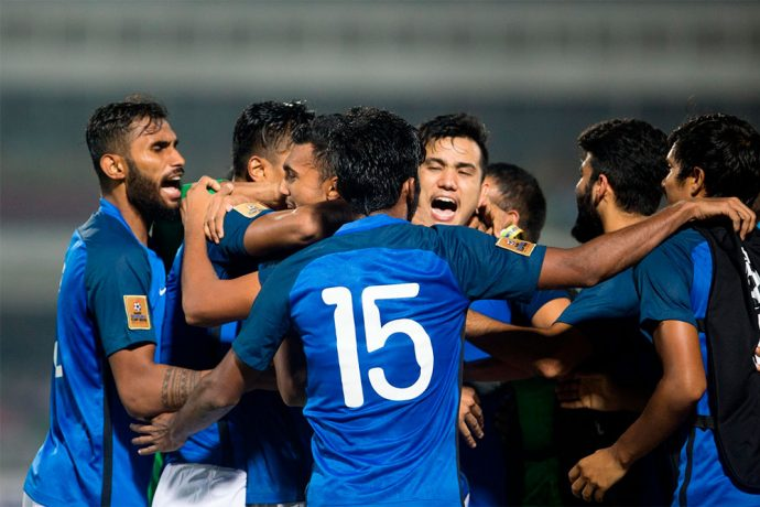 India U-23 national team players celebrating their win against Pakistan in the SAFF Suzuki Cup 2018. (Photo courtesy: Lagardère Sports)