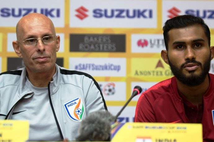 Head coach Stephen Constantine and Indian national team left back Subhasish Bose. (Photo courtesy: Lagardère Sports)