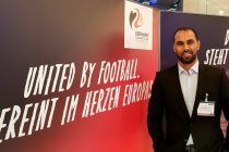 "Chris Punnakkattu Daniel show his support for Germany's ""United by Football"" UEFA EURO 2024 bid. (© CPD Football)"