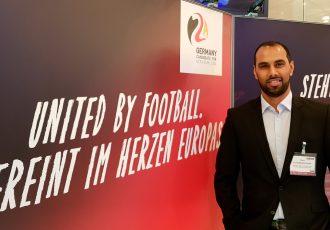"Chris Punnakkattu Daniel show his support for Germany's ""United by Football"" UEFA EURO 2024 bid. (© CPD Football)"