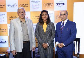 India Women's international Aditi Chauhan launches Godrej Interio's new mattress brand. (Photo courtesy: Godrej Interio)