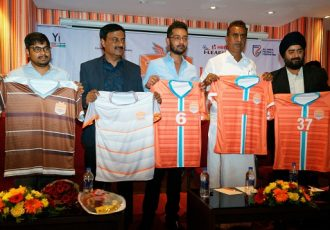 Chennai City FC present their new kit for the upcoming 2018/19 I-League campaign. (Photo courtesy: Chennai City FC)