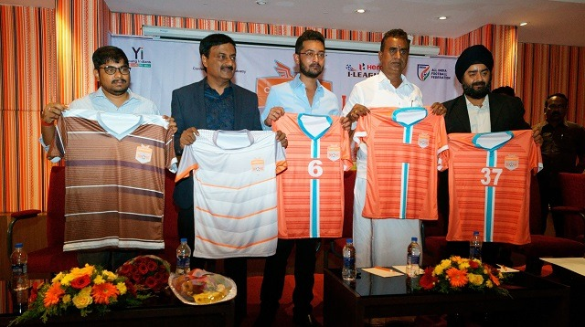 Chennai City FC present their new kit for the upcoming 2018/19 I-League campaign. (Photo courtesy: Chennai City FC)