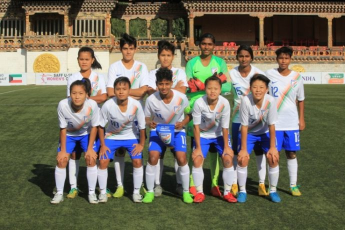 India U-18 Women's national team at the SAFF U-18 Women's Championship. (Photo courtesy: AIFF Media)