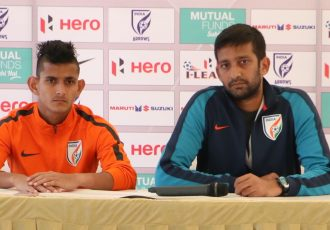 Indian Arrows head coach Floyd Pinto (right) during a press conference. (Photo courtesy: I-League Media)