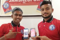 Gourav Mukhi and Mobashir Rahman present the official Jamshedpur FC app for fans. (Photo courtesy: Jamshedpur FC)