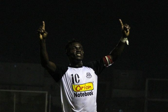 Mohammedan Sporting Club's Philip Adjah Tetteh celebrating his goals in the 70th All India Independence Cup. (Photo courtesy: Mohammedan Sporting Club)