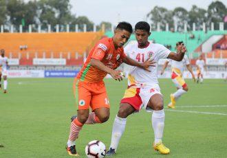 Hero I-League match action bewteen NEROCA FC and East Bengal FC. (Photo courtesy: AIFF Media)