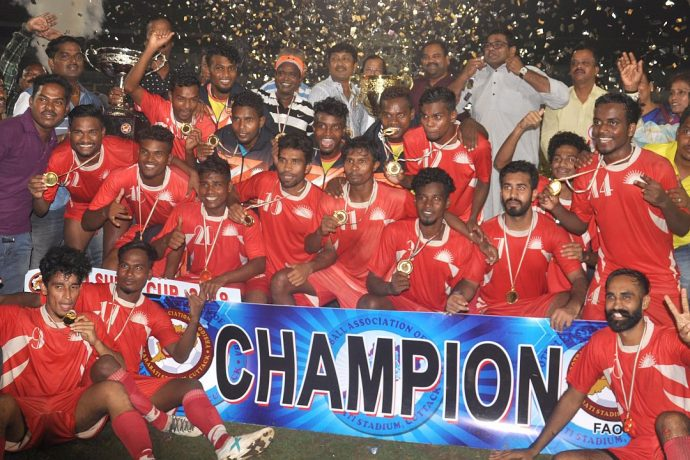 Sunrise Club celebrate their win against Rising Students Club in the final of the 1st FAO Super Cup. (Photo courtesy: Football Association of Odisha)